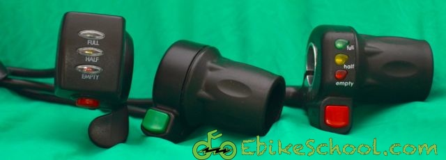 three electric bicycle throttles with led battery meters and buttons accessories