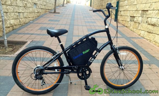 townie with electric rider triangle bag
