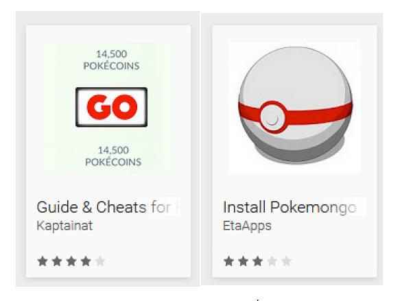Aplicaciones Falsas Pokemon Go