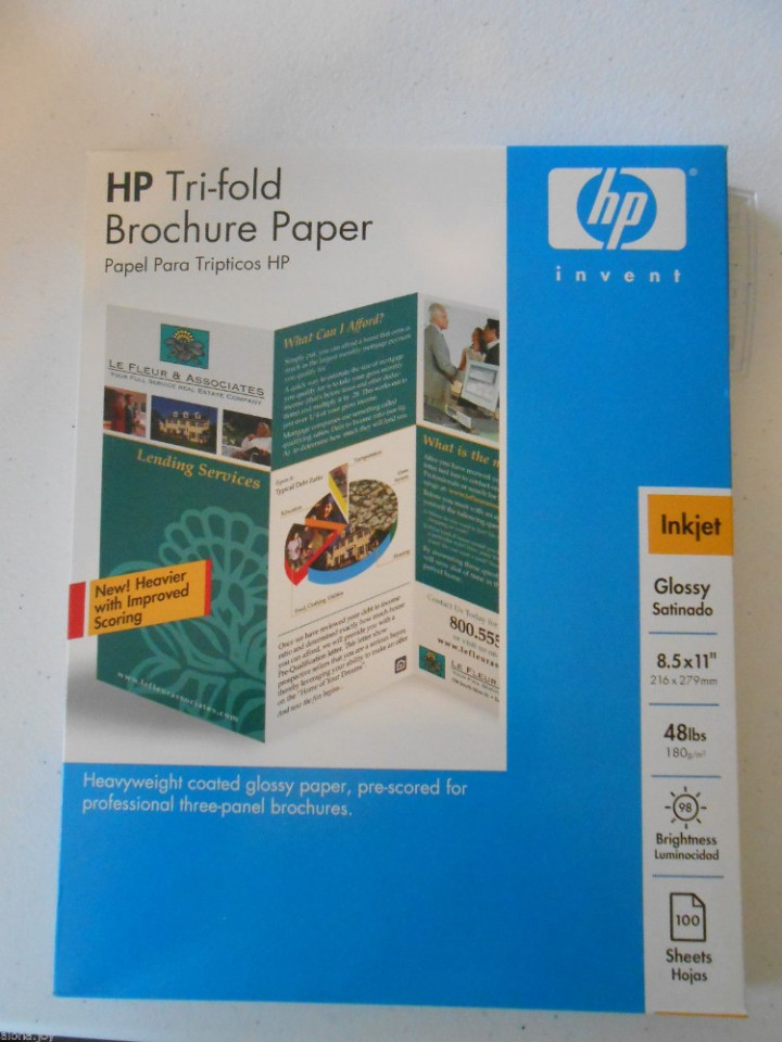 eBlueJay HP Tri-Fold Brochure Paper Inkjet Glossy Heavyweight 85 x 11