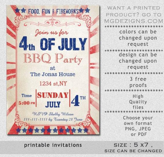 eBlueJay PRINTABLE rustic 4th of july party invitation templates