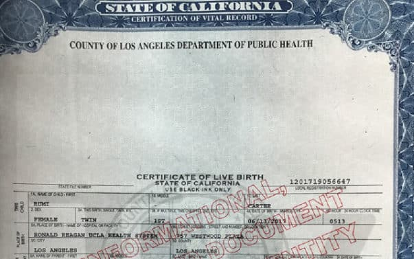 Rumi and Sir Carter\u0027s Birth Certificates Released, Older Twin Revealed - birth certificate