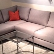 "Hudson 2 piece109"" x 72"" in Vibe Smokey fabric floor model $2995"