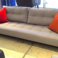 EXCLUSIVE AT ECHO FURNITUREIDUN full XL sofa bed wood legs grey fabric. Floor model $1999 Reg. $2495