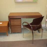 "Cascadia console/laptop desk & mobile file cabinet in walnut.  Desk is 47.75""W x 19.25""D x 29.25""H"