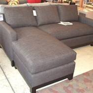 "Soho Flex sofa/sectional.  82"" x 35""D x 36""H. Chaise can work on either side is 64""D.   Shown in Dumdum charcoal $2720. Floor model $2399."