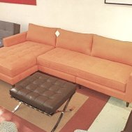 "Draper flip sectional. 110""w x 63""chaise x 32""d x 32""h.  Special on floor model $2999"