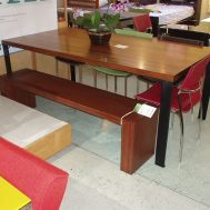 "Fontana 76"" solid Elm dining table. Floor model $1199"