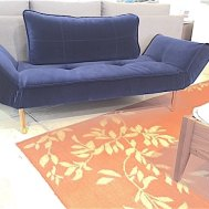 Zeal daybed with brass legs blue antique cotton velvet floor model $799