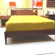 "Cosmo solid walnut queen bed 63""W x 87""D x 43""H $1595"