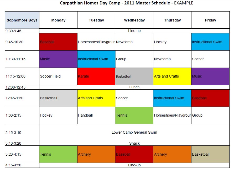 Carpathian Homes Day Camp - Kauneonga Lake, New York - create a schedule