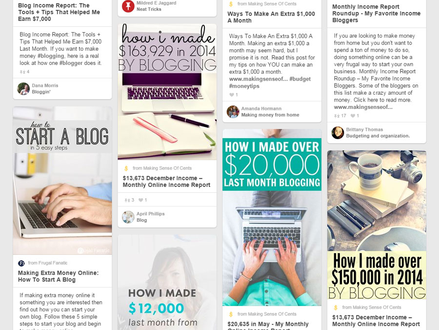 Pinterest Screenshot -- Successful Bloggers