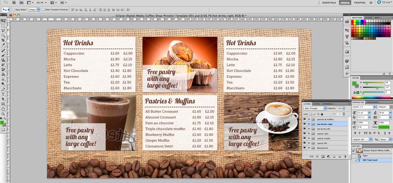 Coffee Shop Menu Board PSD Template Eclipse Digital Media - price list design template