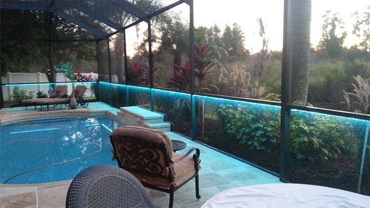 Bird Cage Pool Enclosure With Color Changing Led Strip Lights