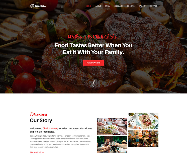 Chick Chicken - Restaurant HTML Template - Ecology Theme