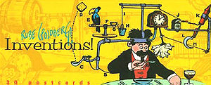 This postcard book, Rube Goldberg's Inventions...