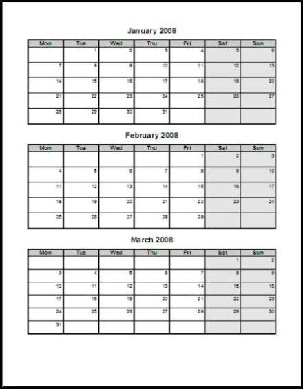 quarter calendar template - Goalgoodwinmetals