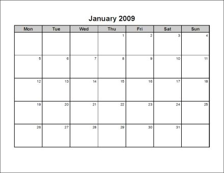Free Print Your 2009 12 Pages Landscape Microsoft Word Calendar No