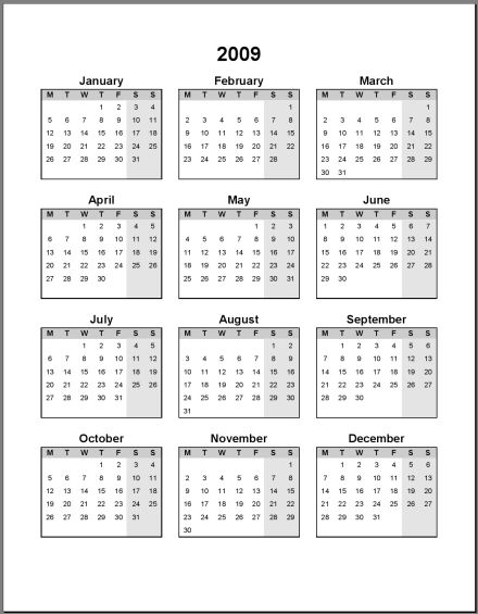 Free Print Your 2009 1 Page Portrait Microsoft Word Calendar No-Ads