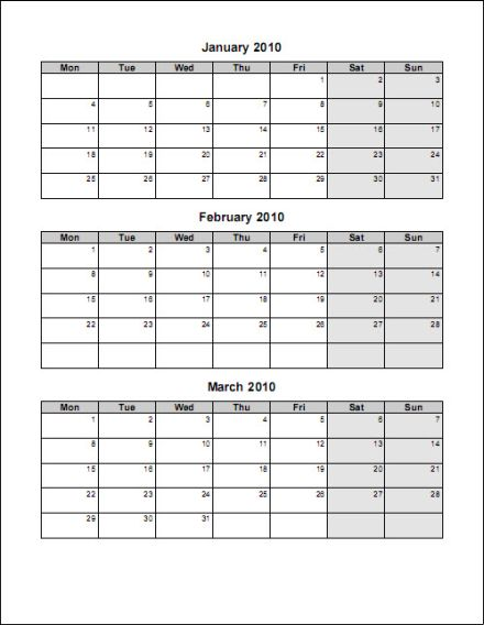 Free Print Your 2010 4 Pages Portrait Microsoft Word Calendar No-Ads