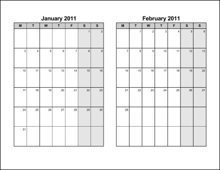 Print 2011 Calendar  Six Pages (Bi-Monthly)  Ask the eConsultant - Printable Bi Weekly Calendar