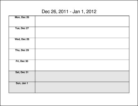 Print 2012 Calendar  Fifty Two Pages (Weekly)  Ask the eConsultant - microsoft word weekly calendar