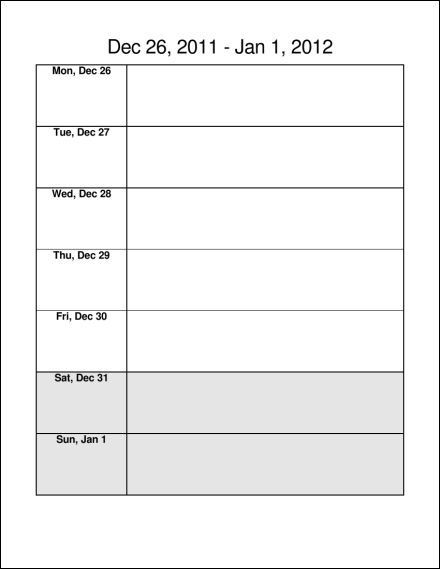 weekly calendar pages - Boatjeremyeaton - one week calendar template word