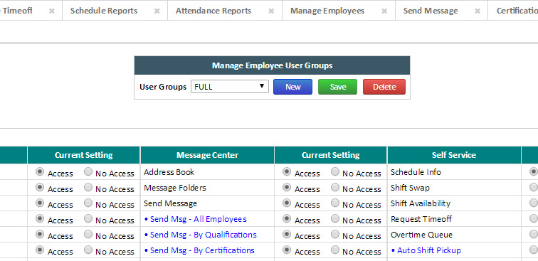 ePro Enterprise Employee Scheduling Software Access Levels eCore