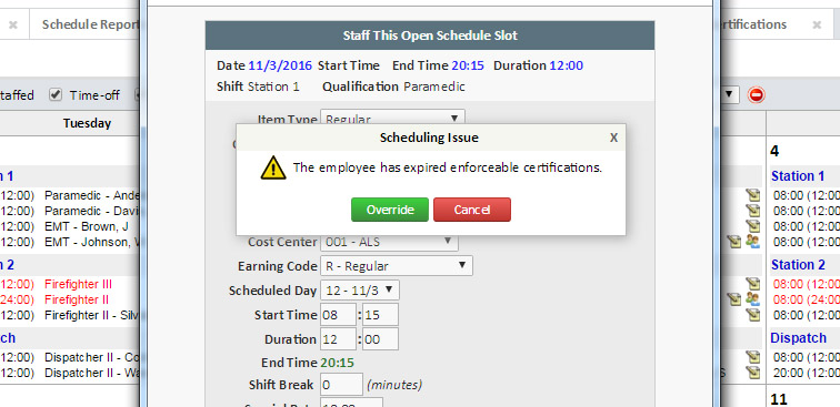 CertificationTracking-Employee Shift Scheduling Validation - eCore