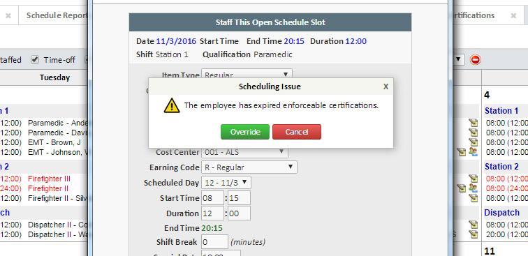 CertificationTracking-Employee Shift Scheduling Validation - eCore - employee shift schedules