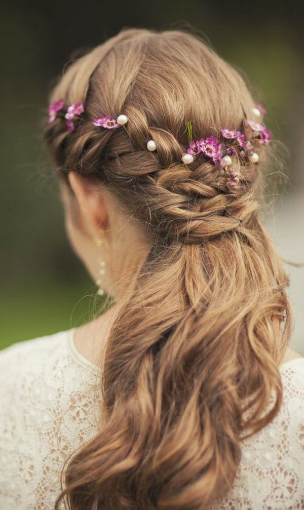 Bridal Hair Down With Flowers : Fashionable half up down hairstyles to make you