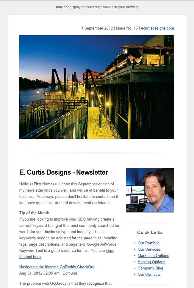 Small Business Newsletter Sacramento Web Design