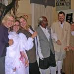 A lineup after the play of some of the personages in A Devil in Petticoats: L. to R., Director Susie O'Neal, Ashley Hatcher as bloody Becky, Caroline Bland, Cleo Limkin, Mitchell Bland, Karen Sealy and Walt Bagshall.