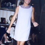 A shift with a beaded neckline, worn by a friend who was taller than Jean.