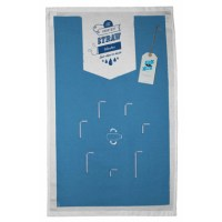 A blue and white teatowel with a series of long and shorter straws. With 60&#039;s style logo