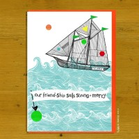 A swirling blue sea supports the friend-ship sail along, strong and merry.