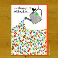 A black and white watering can overflows with bright colourfull shapes, text reads as title