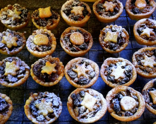 Mini mincepies each with a different shape on top