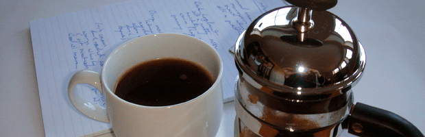 I take coffee tasting seriously: prep the cafetiere, drink the coffee, take notes.