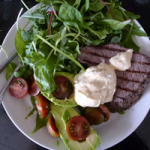 ...or cold from the supermarket with peppered steak and salad.