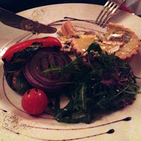 Brie tart and grilled veg.