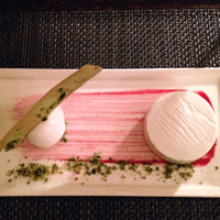 Silky, elegant and perfectly balanced: coconut panacotta with sweet cicely sorbet.