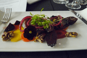 Warm pigeon salad: beautiful colours and robust flavours.