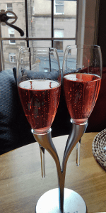 I was tempted to grab the stand, not just my glass. Kir Royale at La P'tite Folie.