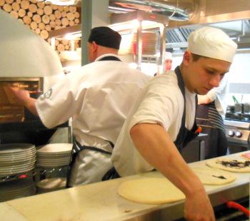 Preparing Zizzi's Pizzas