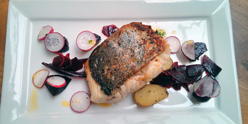 Hake with beetroot, heritage potatoes and radishes at Edinburgh Larder.