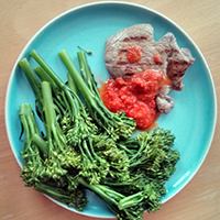 Steak with tenderstem broccoli and The Hot Chilli Republic salsa.