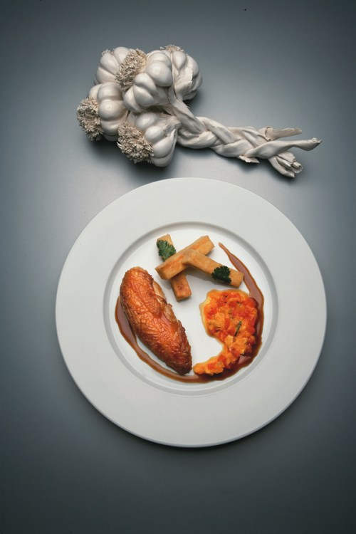 Jocelyn Herland Alain Ducasse Chicken and Chips  Copyright GQ Magazxine