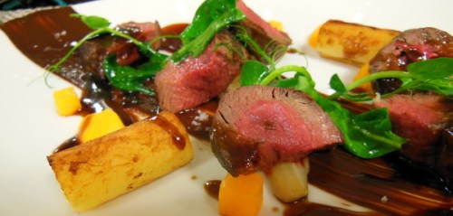 Venison with squash, chicory and chocolate