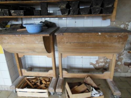 Wooden bread troughs on wheels